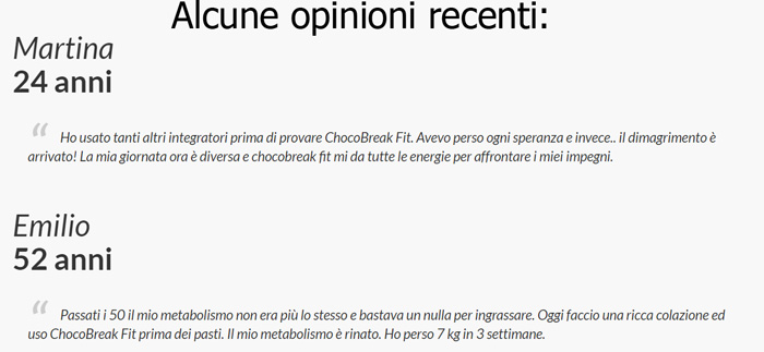 Pareri su Chocobreak fit